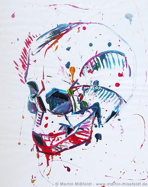 Action-painting skull