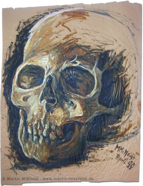 Skull, study with oil paint on paper