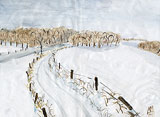 Winter landscape with water colors