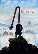 : Man over the clouds - after Caspar David Friedrich