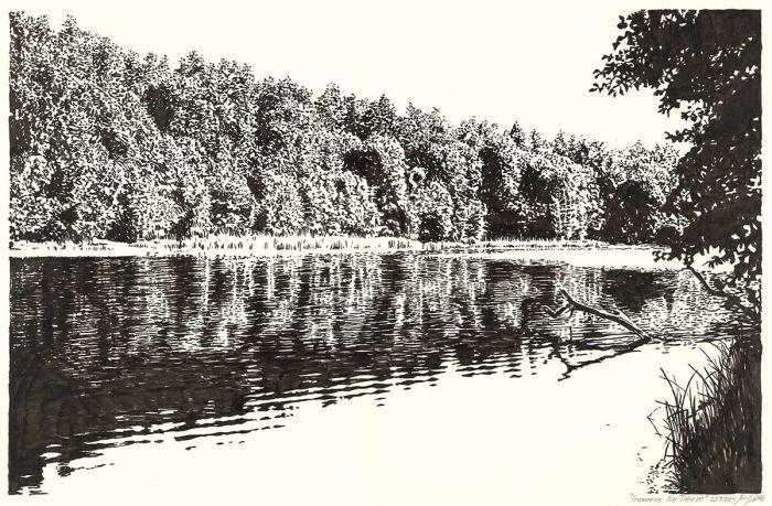 Lake Gamen near Deeplake (ink drawing)