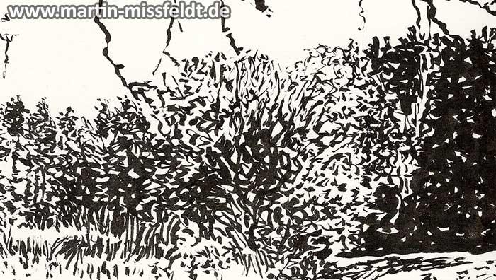 Lobetal in Brandenburg, landscape drawing (Detail 1)