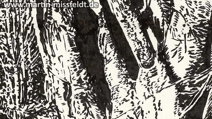 Tree in Lobetal (Brush Pen Drawing) (Detail 1)