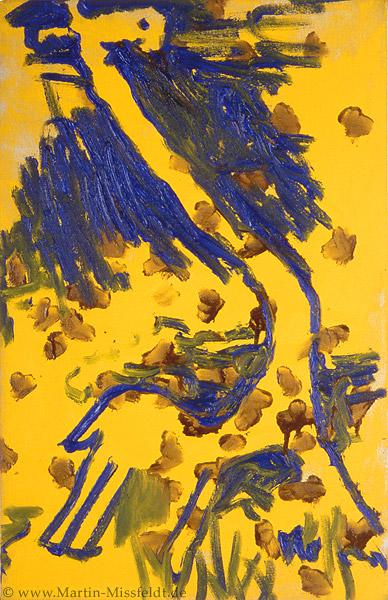 Oil paint: Giraffe on yellow