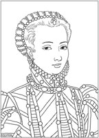 : Coloring Model of a historical girl (Marie Antoinette)