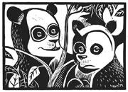 : Linocut Panda Bear