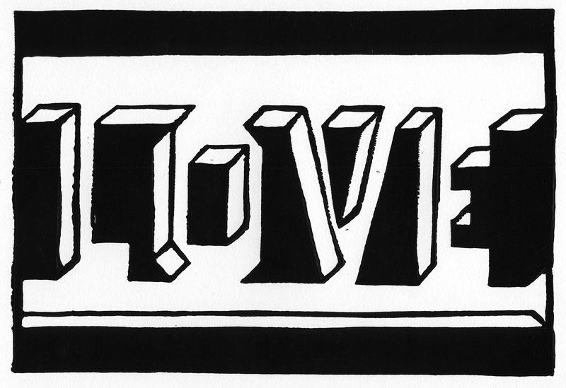 LOVE linocutt