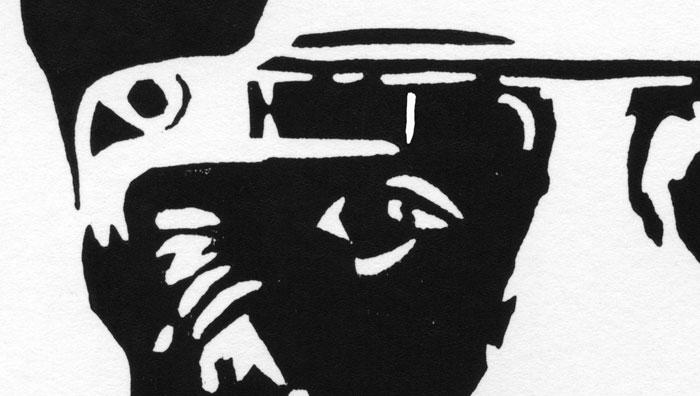 Sergey Brin (linocut) (Detail 1)