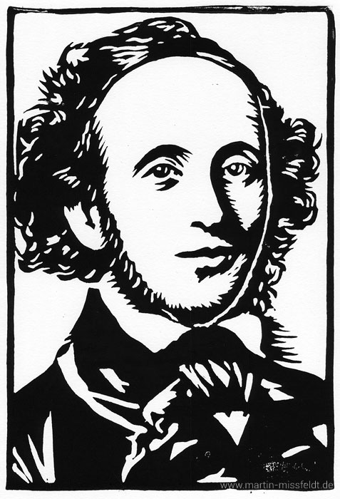 Felix Mendelssohn-Bartholdy - linocutt