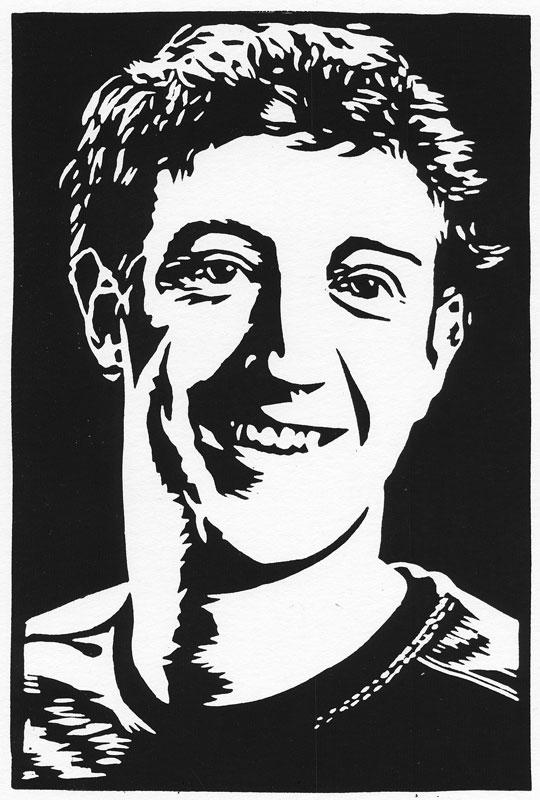Mark Zuckerberg (linocut)