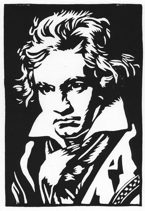 Ludwig van Beethoven Print (linocut)