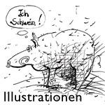 Funny animal cartoon illustrations