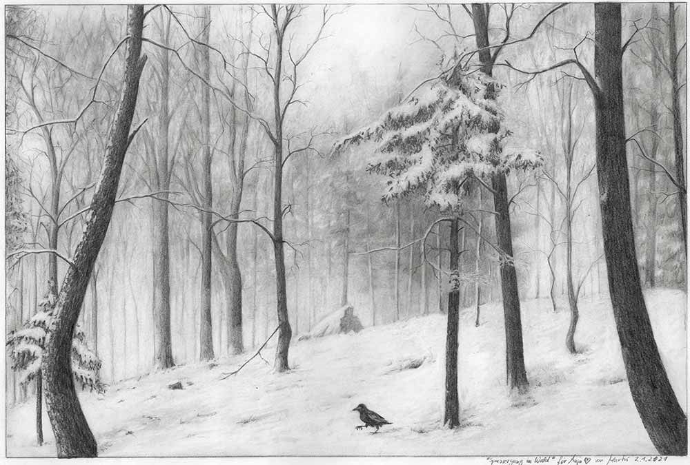 Drawing winter landscape forest