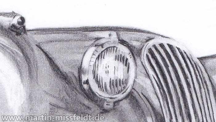 Jaguar XK 120 pencil drawing (Detail 1)