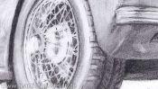 Jaguar XK 120 pencil drawing (Detail 4)
