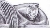 Jaguar XK 120 pencil drawing (Detail 5)
