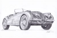 Jaguar XK 120 pencil drawing