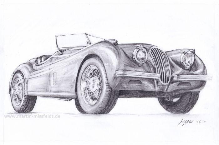 Jaguar XK 120 pencil drawing