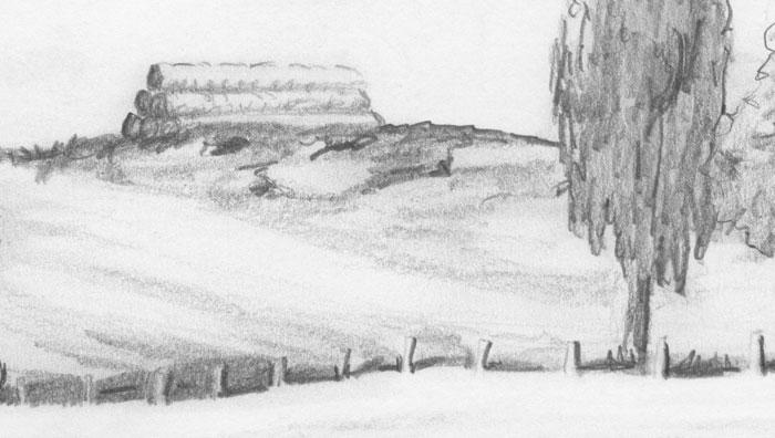 Pencil sketches landscapes