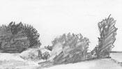 Landscape pencil drawing - Detail 3