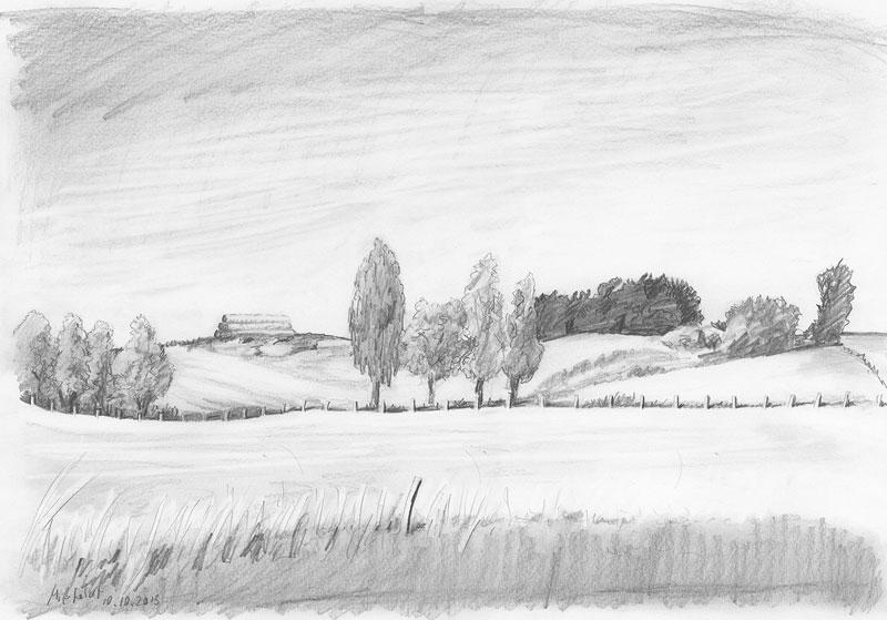 Landscape pencil drawing