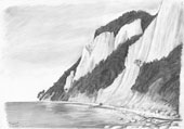 Pencil drawing: Chalk cliffs on the coast of Ruegen