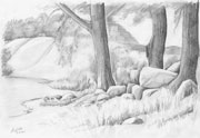 Pencil drawing of a landscape with megalithic grave