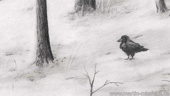 Pencil drawing snow landscape: snowy forest (Detail 1)
