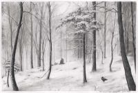Pencil drawing snow landscape: snowy forest