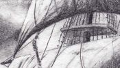 Sailing ship (pencil drawing) (Detail 2)