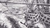 Sailing ship (pencil drawing) (Detail 3)
