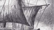 Sailing ship (pencil drawing) (Detail 4)