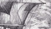 Sailing ship (pencil drawing) (Detail 5)