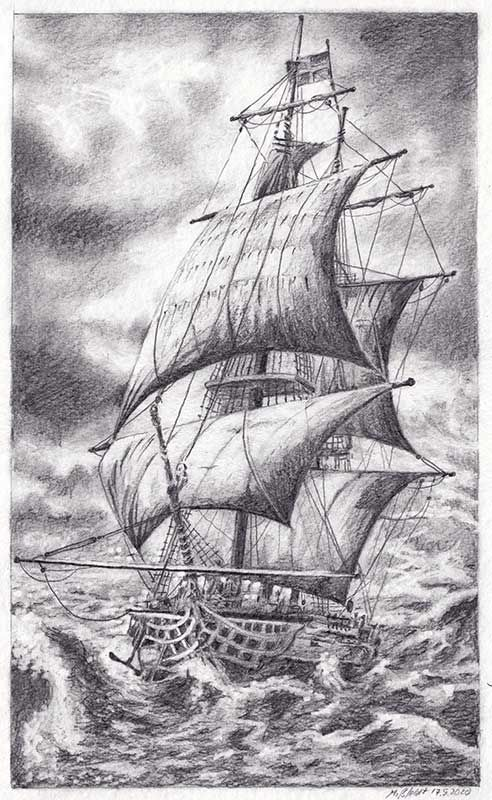 Sailing ship (pencil drawing)