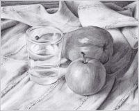 Still life with apple, pear and glass