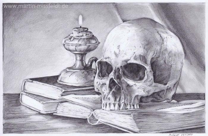 Vanitas Still Life (pencil drawing)