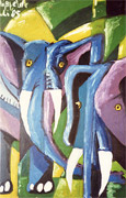 Abstract Oilpainting of two Elephants