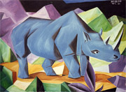 : Blue rhino (cubistic oilpainting)