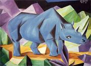 Blue rhino (cubistic oilpainting)