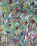 : painting: birch and leaves