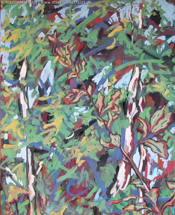 painting: birch and leaves