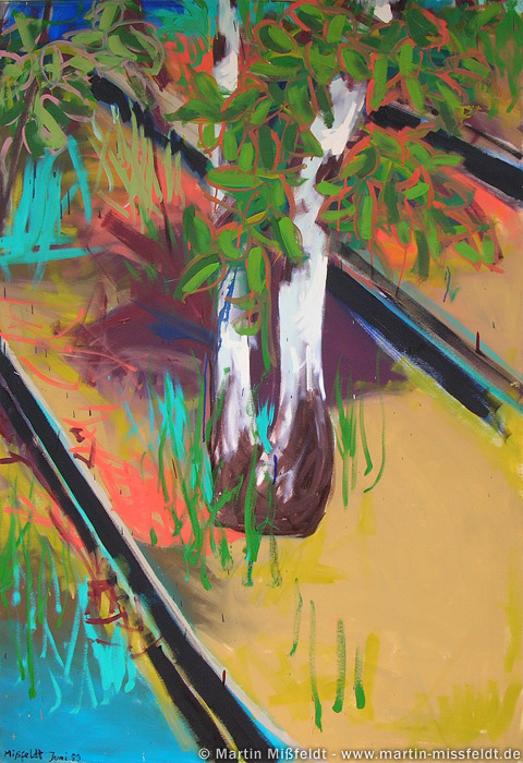 wild painting: tree and rail