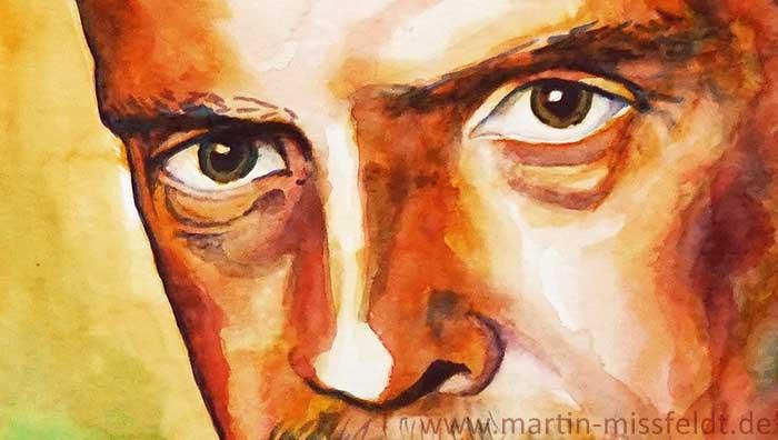 Watercolor portrait of Paul Klee (Detail 1)