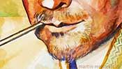 Watercolor portrait of Paul Klee (Detail 4)