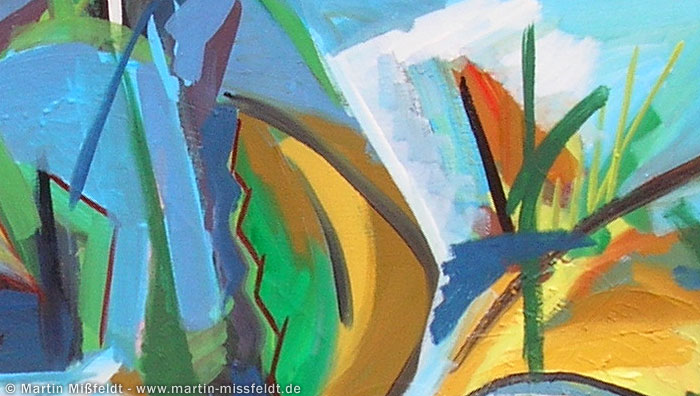 Abstract painting with leaves (Detail 1)