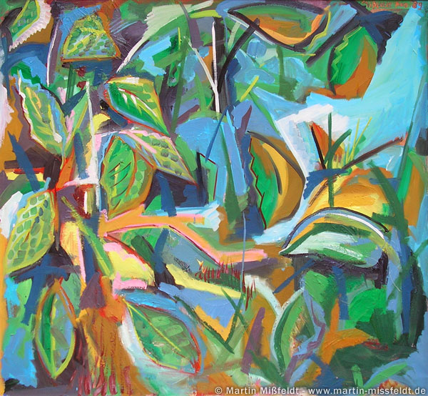 Abstract painting with leaves