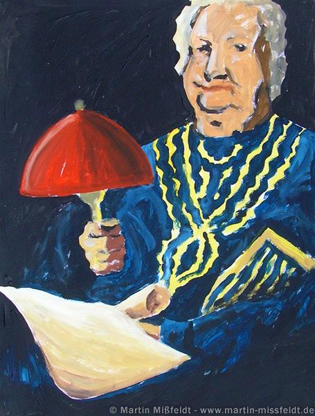 Grandma makes light with lamp
