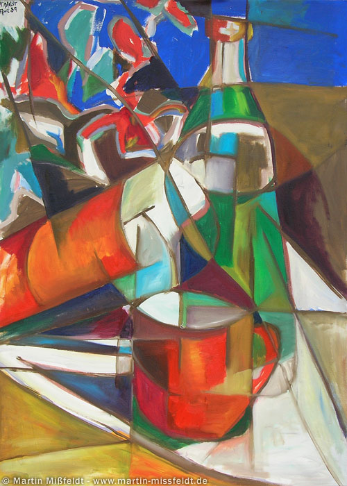 Still life with bottles - 1988, Oil on canvas, 100 x 70 cm
