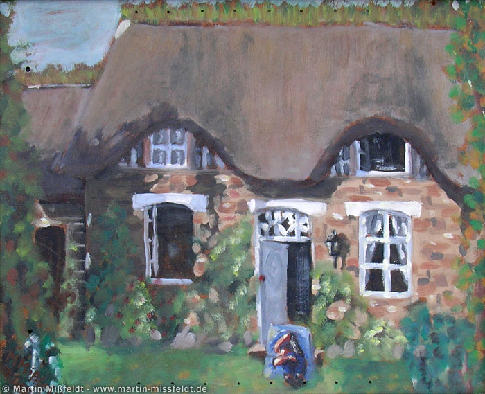 Oil on wood: Old house in Normandy
