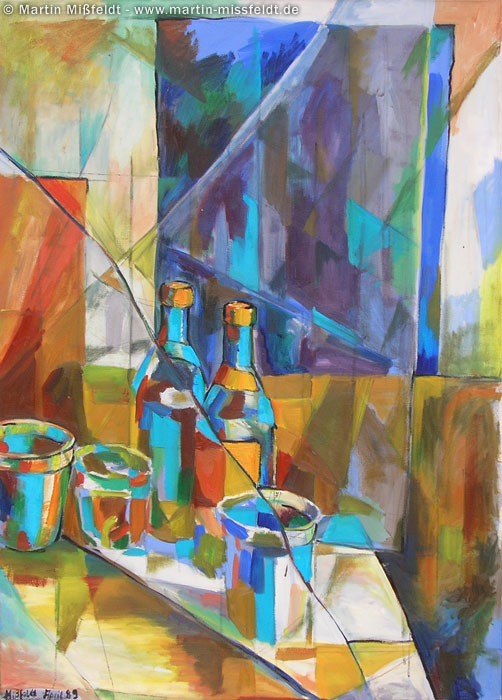 Oilpainting still-life with bottles